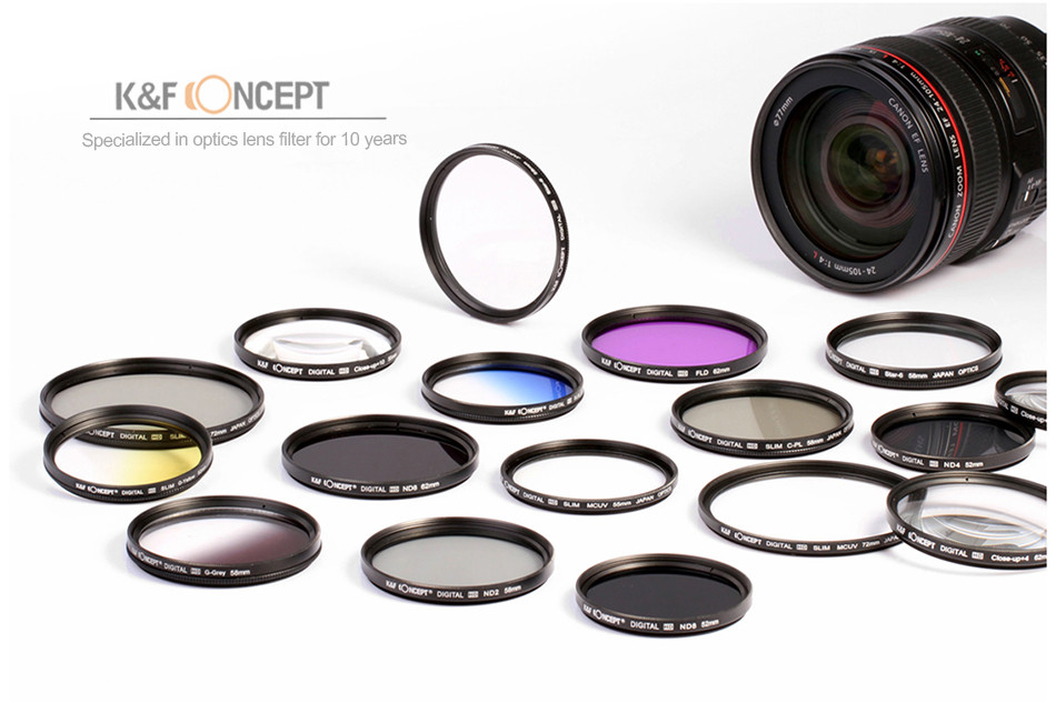 UV CPL FLD ND2 ND4 ND8 Lens Camera Filter Kit(52 58 62 67 72 77mm)+Lens Hood+Lens Cap+Cloth For Canon for Nikon for Sony etc. 2