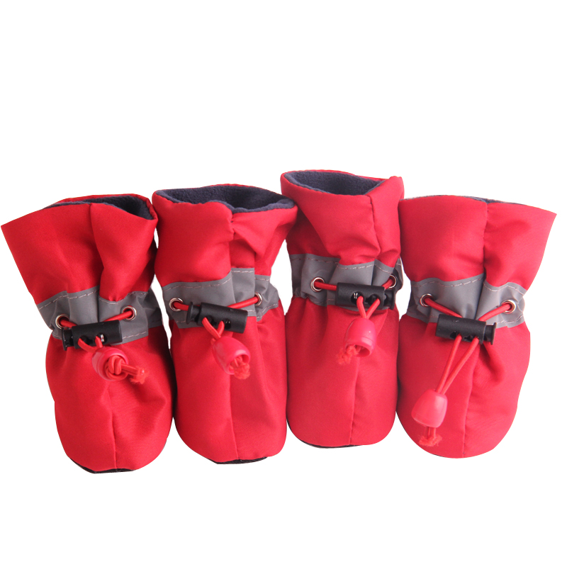 Mascotas de Invierno Cálidos Zapatos para perros Primavera Otoño Resbalón resistente al resbalón Botas impermeables Color sólido Banda elástica Zapatos de nylon transpirables para perros