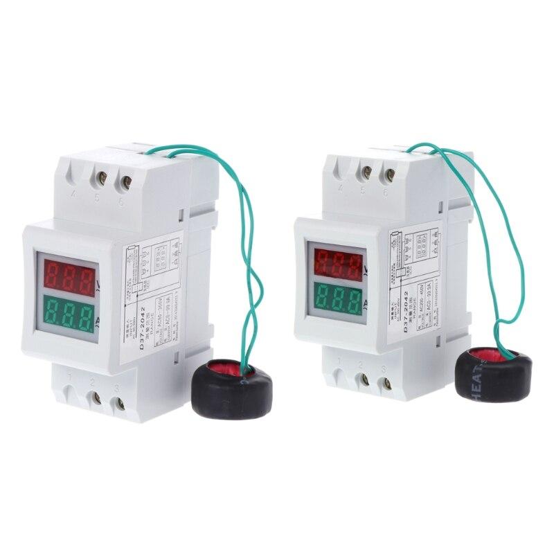 2 P 36mm Rail Din Double LED Tension Courant Mètre Voltmètre Ampèremètre AC 80-300 V 250-450 V 0-100A