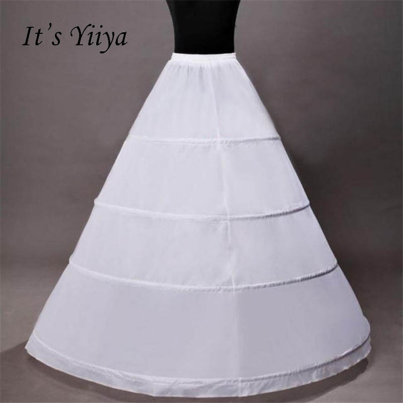 It's Yiiya White 4 Hoops Ball Gown Petticoat Wedding Accessories Bride Crinoline Underskirt Velos De Novia Voile De Mariee QC017