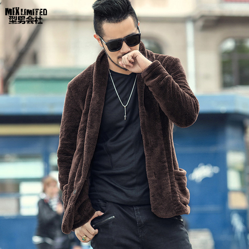 Men New Winter Plush Furry Suit Cardigan Metrosexual Men Slim Cashmere American Style Warm Jacket Cardigan Brand Coat F009