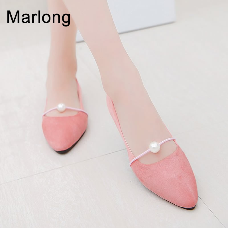 Marlong Women Flat Spring and Summer New Pointed Flat with Pearl Single Shoes Female Wild Flat Shoes Student Shoes Peas Shoes cresfimix women cute spring summer slip on flat shoes with pearl female casual street flats lady fashion pointed toe shoes