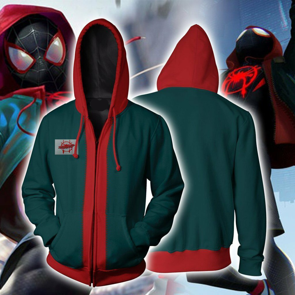 55d4fe12 Spider-Man Into the Spider Verse Miles Morales Cosplay Costume Jacket  Spiderman Zipper Hooded Hoodies 3D Sweatshirts Coat