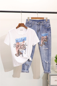 Sequin Printed Jeans 5