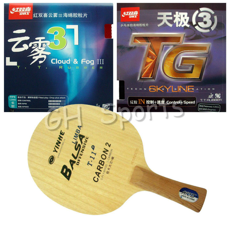Pro Table Tennis PingPong Combo Racket YINHE Galaxy T-11+ with DHS Skyline TG3 and Cloud & Fog III Shakehand long handle FL yinhe milky way galaxy n9s table tennis pingpong blade long shakehand fl