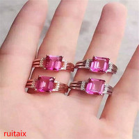 KJJEAXCMY fine jewelry 925 Pure silver inlaid with natural gemstone pink topaz ring jewelry gold and silver color.