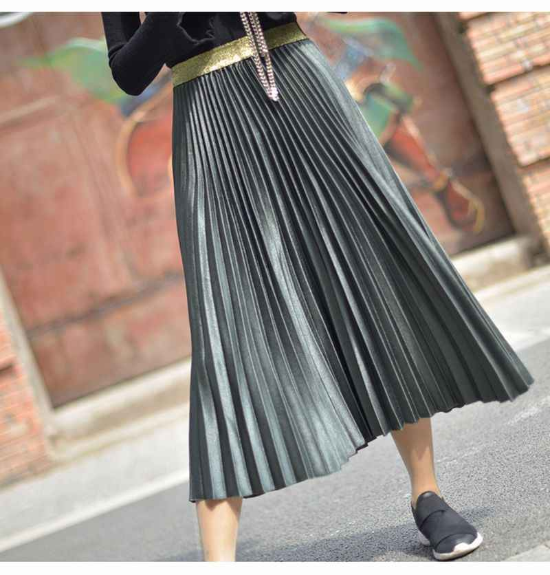 8f099c1260 ... Women's Fashion Solid Color Midi Skirt Ladies Elastic High Waist Velour  Chic Pleated Skirts Saias Faldas ...