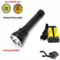 White/Yellow light XHP70 led Waterproof Scuba Diving flashlight powerful 4200LM LED underwater torch dive Lamp lanterna 26650