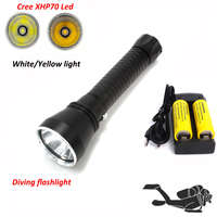 White/Yellow light XHP70 led Waterproof Scuba Diving flashlight powerful 4200LM LED underwater torch dive Lamp lanterna 26650
