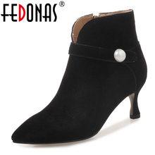 f1848516b FEDONAS mujeres elegante Oficina bombas Sexy punta hebillas Otoño Invierno  botas de tobillo de mujer de