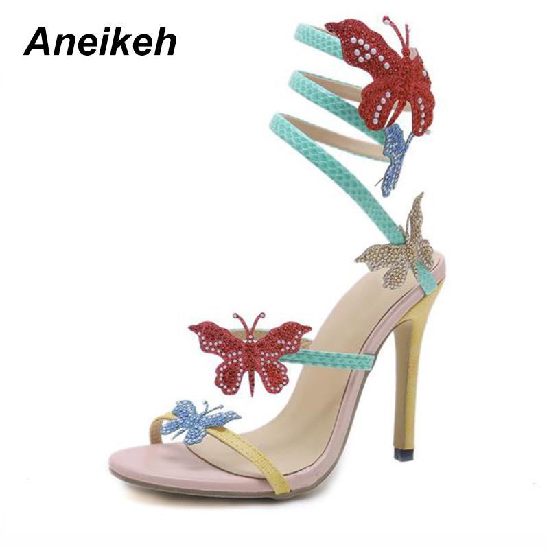 Aneikeh High Heel Gladiator Sandals Women Coloured Butterfly One-Strap S-Shaped  Crystal Stiletto Summer Sandal Shoes WomanAneikeh High Heel Gladiator Sandals Women Coloured Butterfly One-Strap S-Shaped  Crystal Stiletto Summer Sandal Shoes Woman