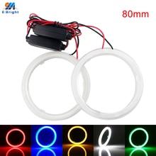 1 Pair 80 mm 9V-30V COB 63SMD Colorful RGB LED Car Halo Rings Lights Angel Eyes Headlights for Universal Cars