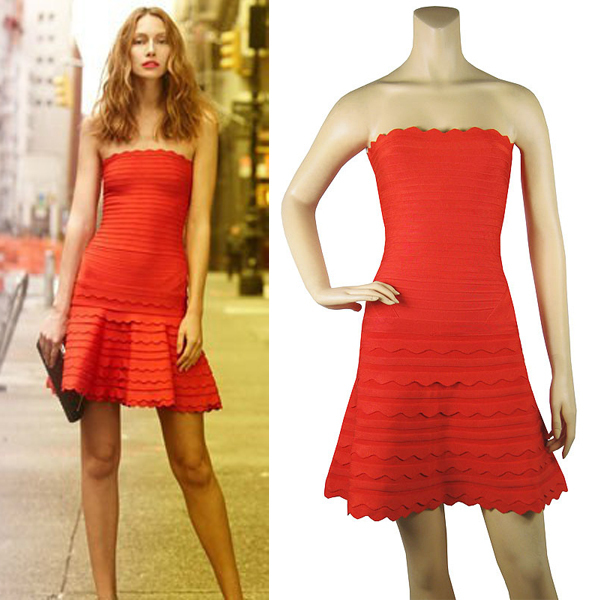 e00746350784 Scalloped Strapless Bandage Dress A line Mini short Celebrity style HL Red  cocktail Sexy party club women summer 2015