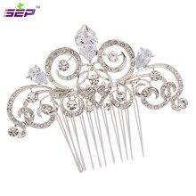 Silver Zircon Women Hairpins Rhinestone Crystal Hair Comb Bridal Wedding Hair Jewelry Accessories 2309R
