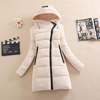 2016 de invierno nuevo escudo algodón de las mujeres sueltas de gran tamaño Abajo abrigo de algodón larga sección de moda de Corea chaqueta de cremallera oblicua