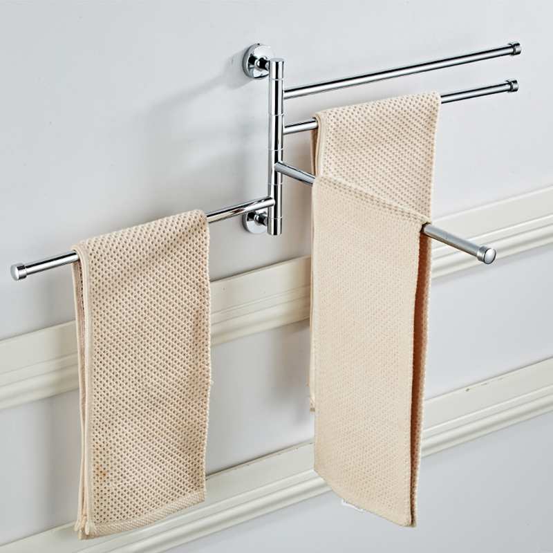 SRJ Bathroom Hardware 304 Stainless Steel Towel Rack Rotating Activity Towel Bar Bathroom Pendant Anti-Rust Towel Storage Rack