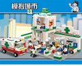 376 unids sluban 5600 serie de la ciudad centro de simulación ciudad cahs hospital bloque de construcción de plástico modelo compatible con legoe