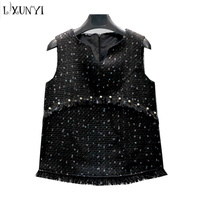 LXUNYI 4XL Tweed Vast Women 2019 Winter Thick Sleeveness Tassel Jacket Runway Sexy V neck Zipper Pearls Coat Jackets Elegant