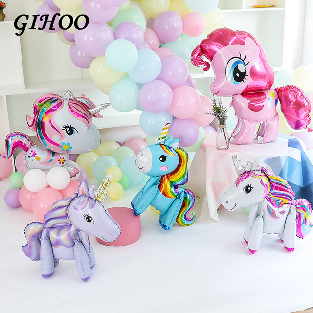 1pcs 3D Cute Rainbow Unicorn Helium Balloons Animal Pink Little Horse Pony Balloons Baby Shower Birthday Party Wedding Decor