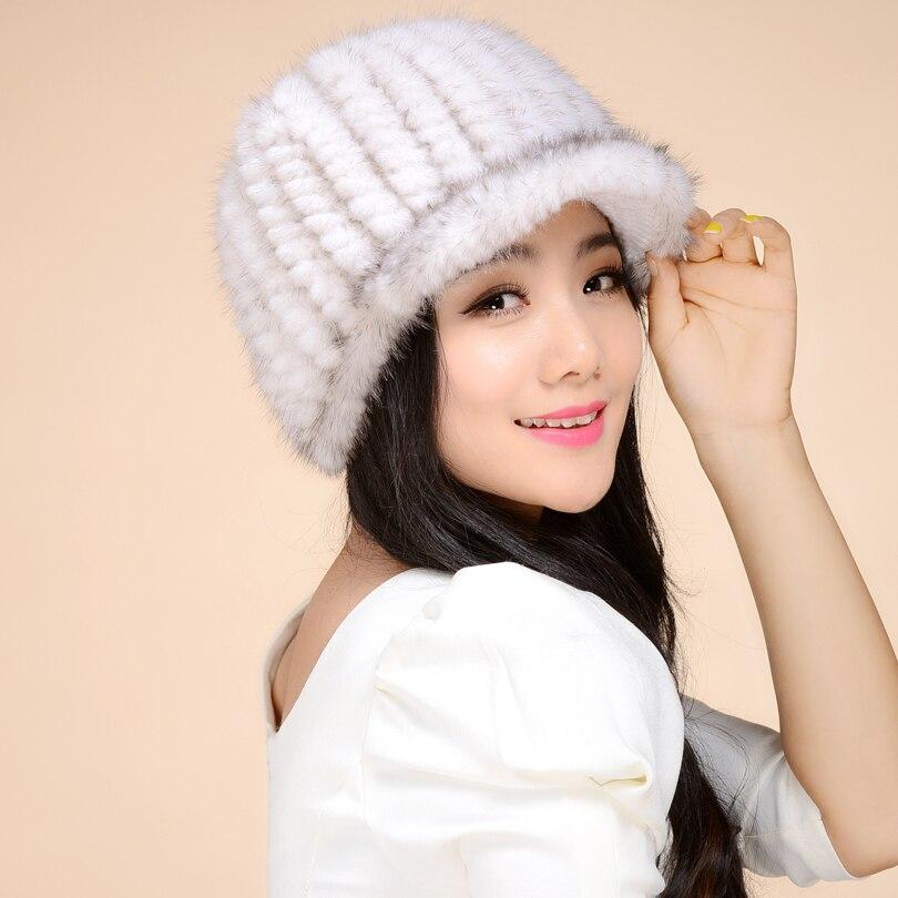 Mink kožešinový klobouk žena zima 2016 norek vlasy klobouk kšiltovka čepice