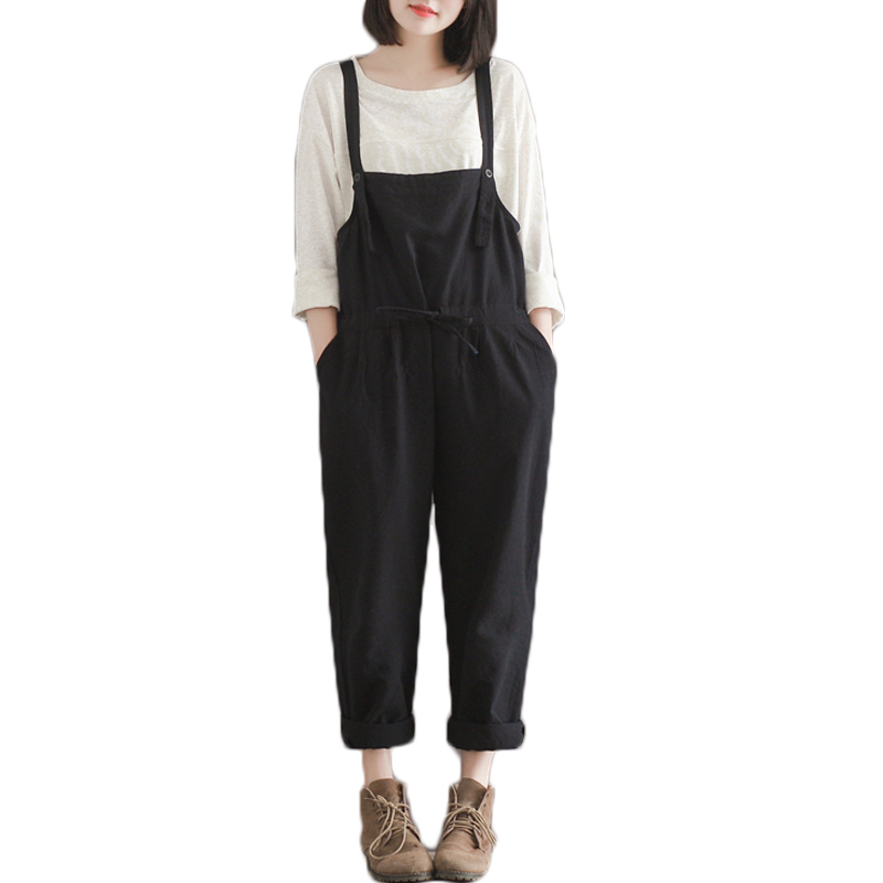 Plus Size Casual Black Cotton Linen Overalls Pants Women ...