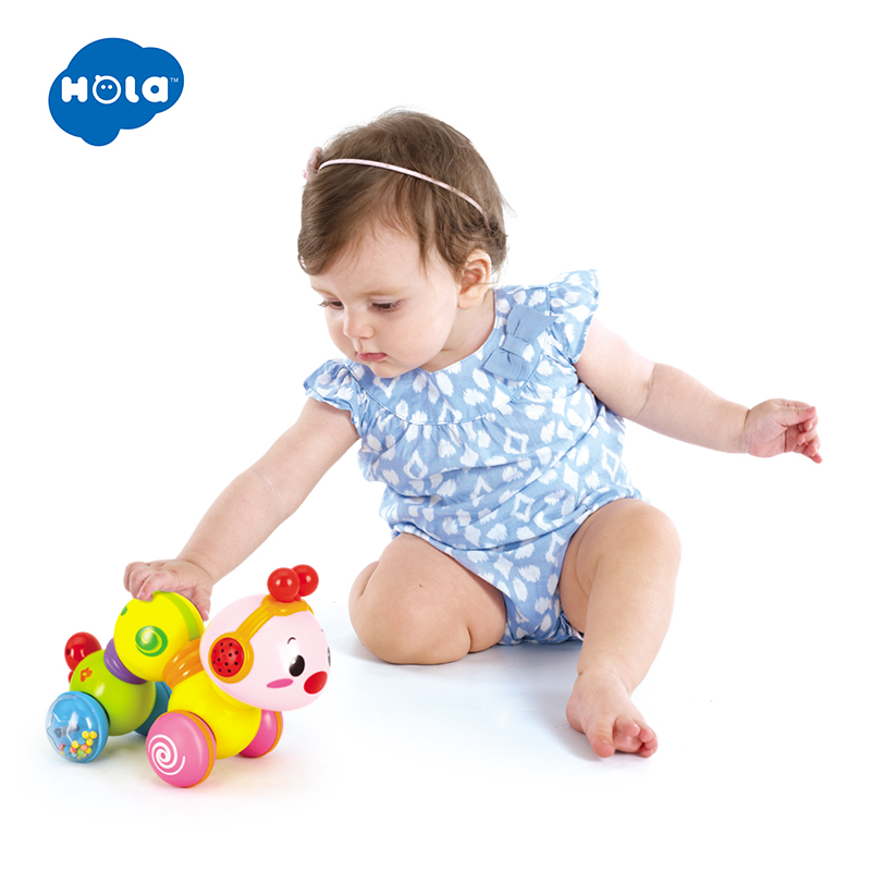 HOLA 997 Creeping Worm Lovely Musical Brinquedos Bebe Worm Press Function With Music & Light Learning Toys For Children