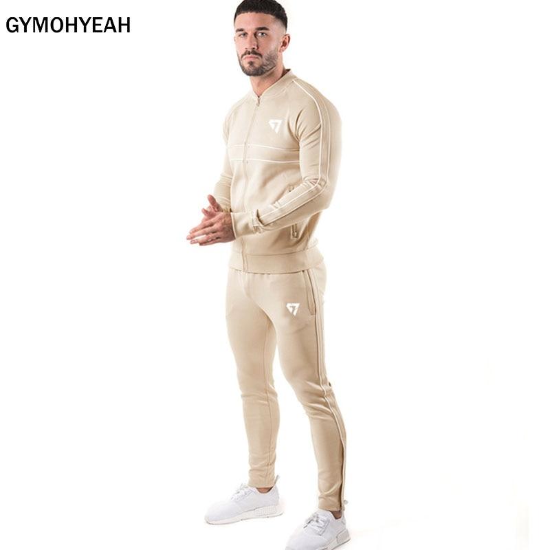 GYMOHYEAH Spring Autumn Men Sets Tracksuit Two Piece Sets Pullover Hoodies Zipper Jacket+Pants Men's Sportwear Suit Male Hoodies