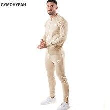 Gymohsim conjunto de agasalho masculino, primavera e outono, duas peças, pulôver com capuz, jaqueta com zíper + calça, roupa esportiva masculina moletons com capuz