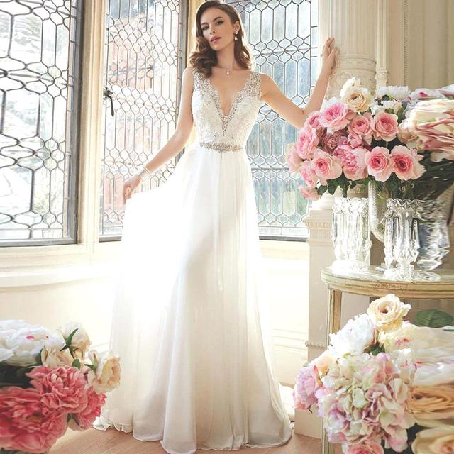 Backless 2017 Beach Wedding Dresses A-line Deep V-neck Chiffon Lace Bead Wedding Gown Bridal Dress Bridal Gown Vestido De Noiva