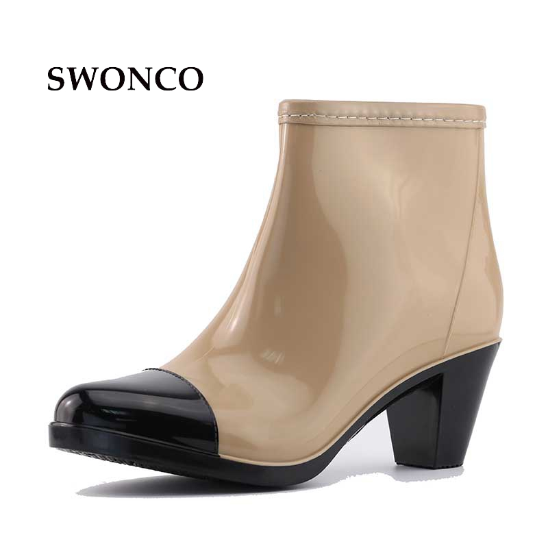 SWONCO Women's Rain Boots 2018 New High Heel 6cm Ankle Water Shoes Rain Boots Women Rubber Sole Non-slip Fashion Woman Shoes france tigergrip waterproof work safety shoes woman and man soft sole rubber kitchen sea food shop non slip chef shoes cover