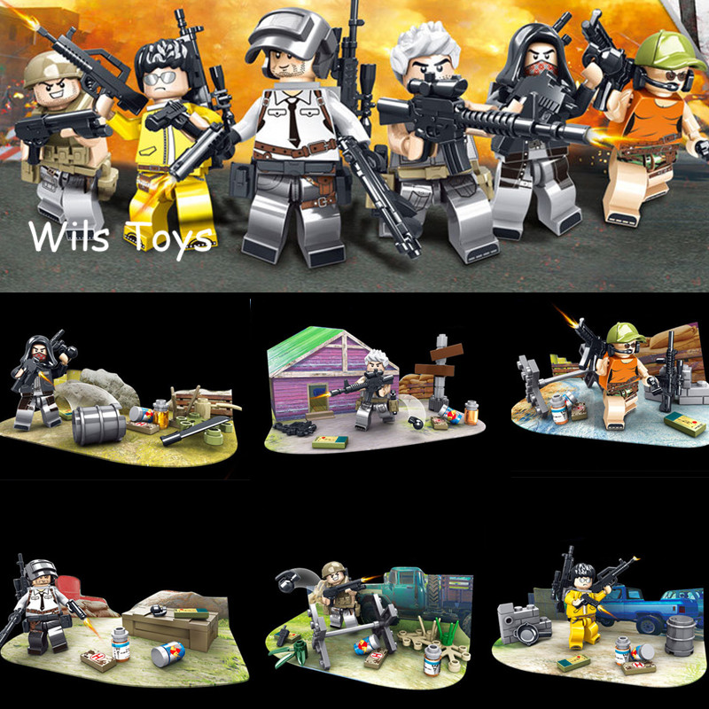 2018 NEW PUBG FPS Game MILITARY Winner Winner Chicken Dinner Soldier Army SWAT Building Blocks Figure Educational Toys Boys Gift