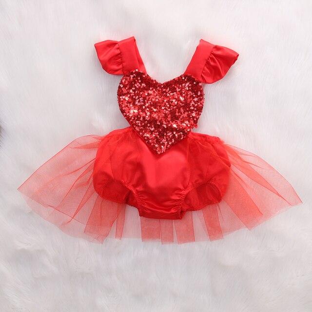 2018 Multitrust marca lentejuelas Fahion recién nacido bebé niña rojo amor corazón Romper encaje tutú mono trajes verano traje de sol