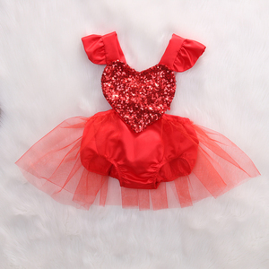 Citgeett Sequin Fahion Newborn Baby Girl Red Love Heart Romper Lace Tutu Jumpsuit Outfits Summer Sunsuit(China)
