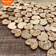 100 шт./лот, любовь, деревянные сердечки, винтажный стиль, свадьба, деревенский стиль, украшение для дома, сделай сам, аксессуары для украшения, вечерние принадлежности