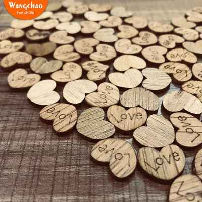 100pcs/lot Love Wooden Hearts Vintage Style Marriage Rustic Wedding Decorating Home DIY Decoration Accessories Party Supplies