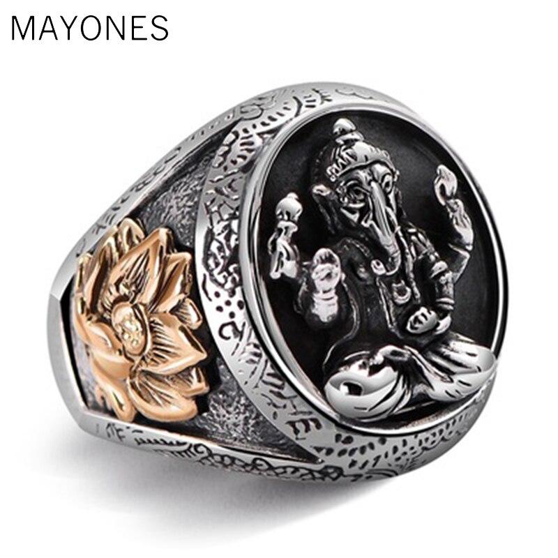 MAYONES pur solide 925 en argent Sterling éléphant nez anneaux pour hommes Vintage Punk Style thaïlande bouddha dieux anneau hommes bijoux