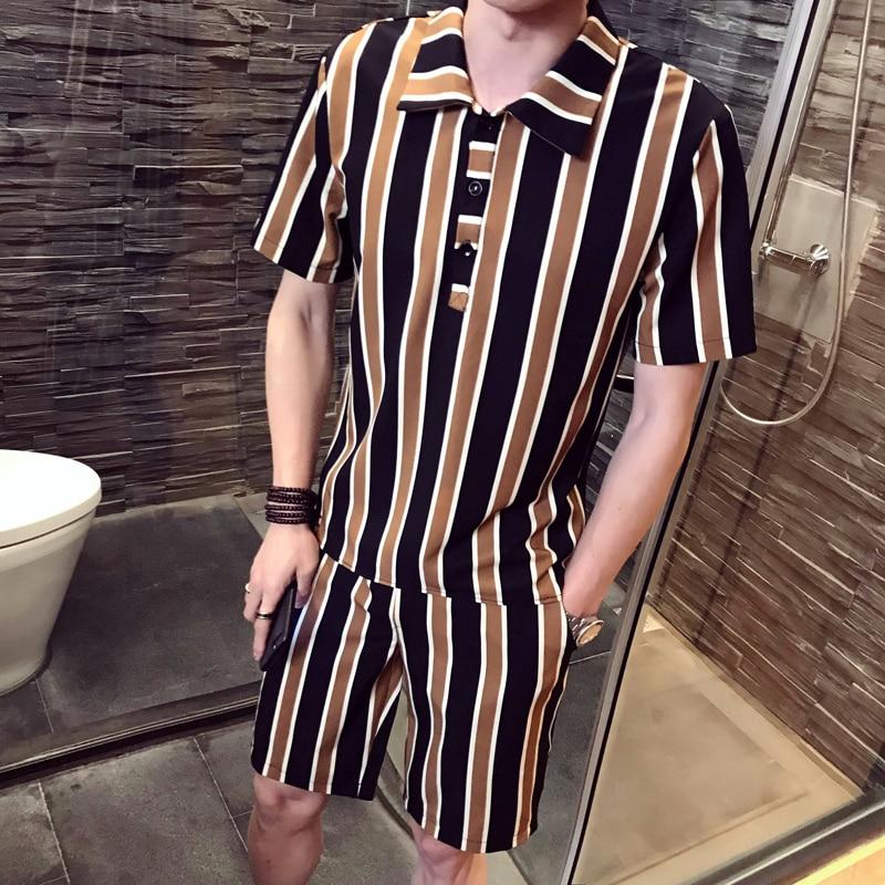 DEKUSI short sleeve Lapel set men Summer Wear New Pattern stripe fashion Suit tracksuit male ...