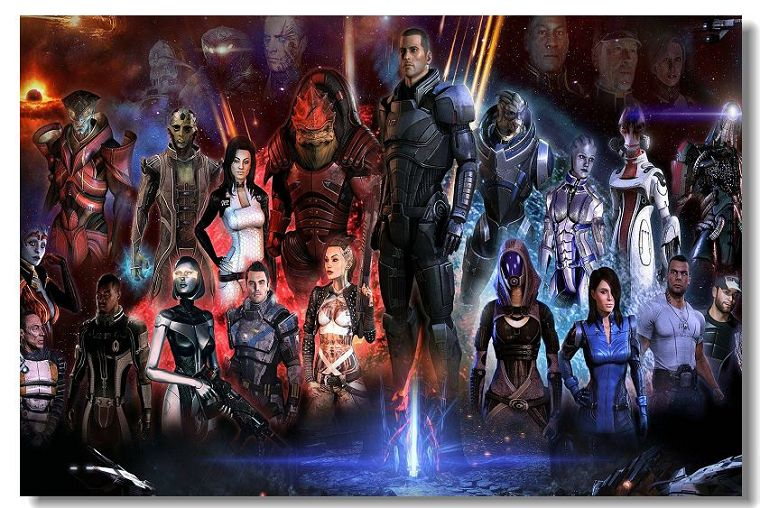 DIY frame Mass Effect 1 2 3, Video game fabric cloth Wall Silk game Poster Print for Home Decoration or boy great gift image