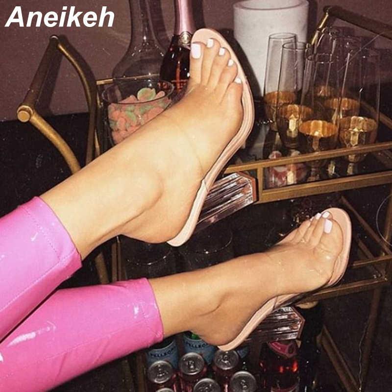 Aneikeh Nuovo Delle Donne IN PVC Sandali Tacco di Cristallo Della Gelatina Trasparente Delle Donne Sexy Trasparente Tacchi Alti Sandali di Estate Pompa I Pattini di Formato 41 42