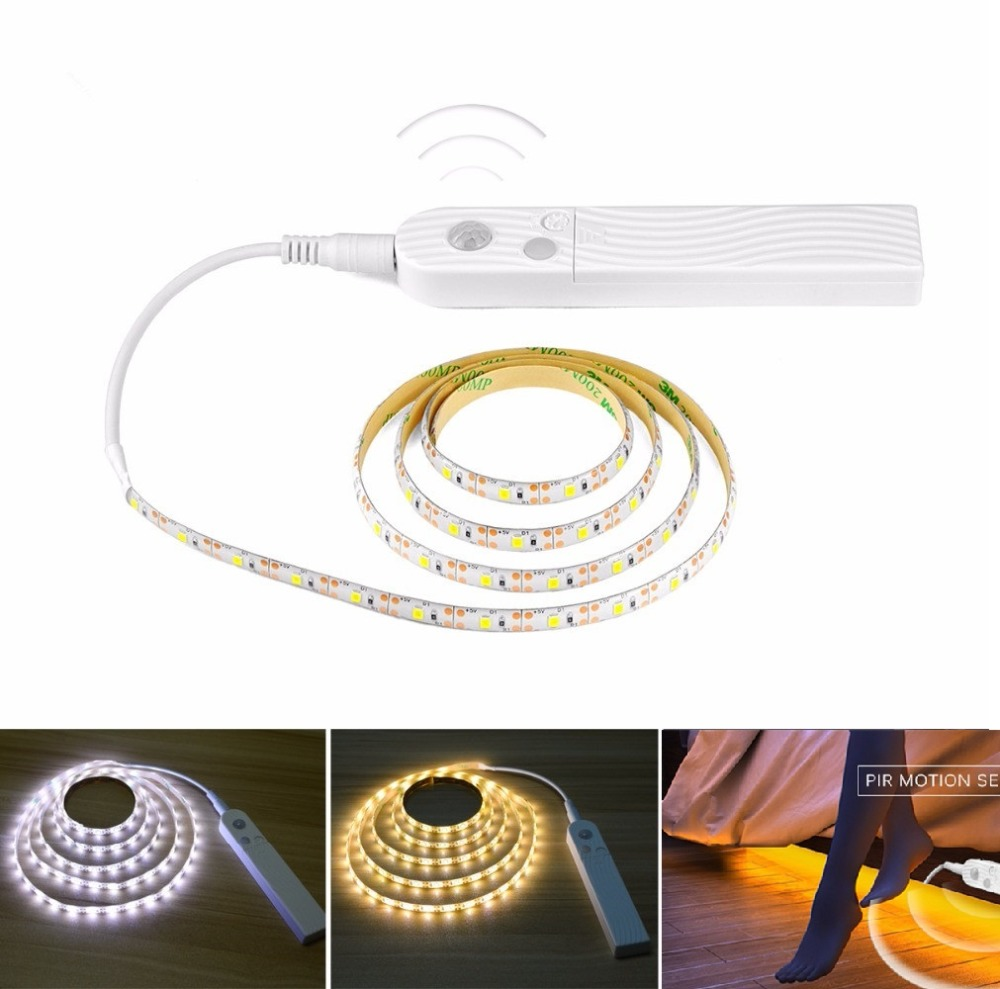 Wireless Motion Sensor LED Strip Battery Power 1M 2M 3M Night light Under Bed lamp For Closet, Wardrobe, Cabinet, Stairs,Hallway