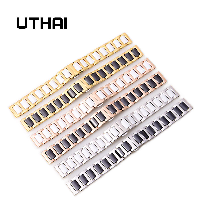 UTHAI C02 Ceramic 20mm watch strap 306L steel 22mm watch band high quality Watchbands 20mm 22mm ceramic