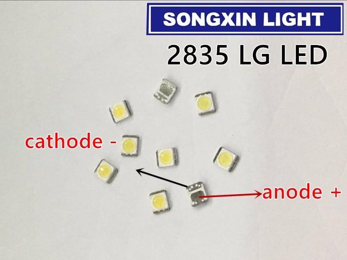 Xiasongxin luz 50 pçs para lg led backlight 1210 3528 2835 1w 100lm branco fresco lcd backlight para tv aplicação