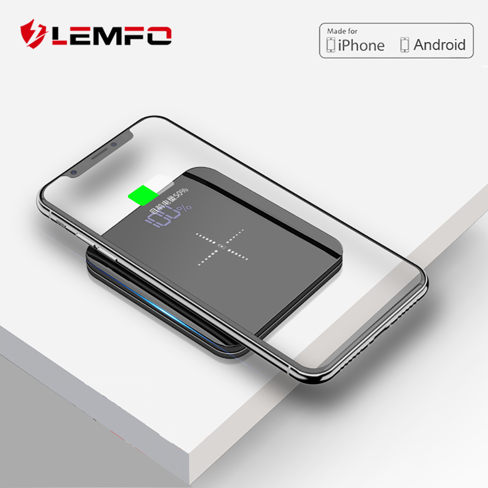 LEMFO Mini Power Bank 8000mah Thin Mirror Screen 2.1A Fast Charging 3 in 1 Built in Line Wireless Charger Powerbank 8000 Mah