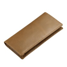 Luxury Brand High Quality Top Genuine Cowhide Leather Men Long Bifold Wallet Purse Vintage Designer Male Carteira