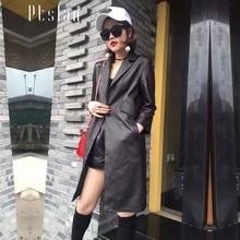 Ptslan 2016 Women's Genuine Leather Jacket Real Lambskin Coat