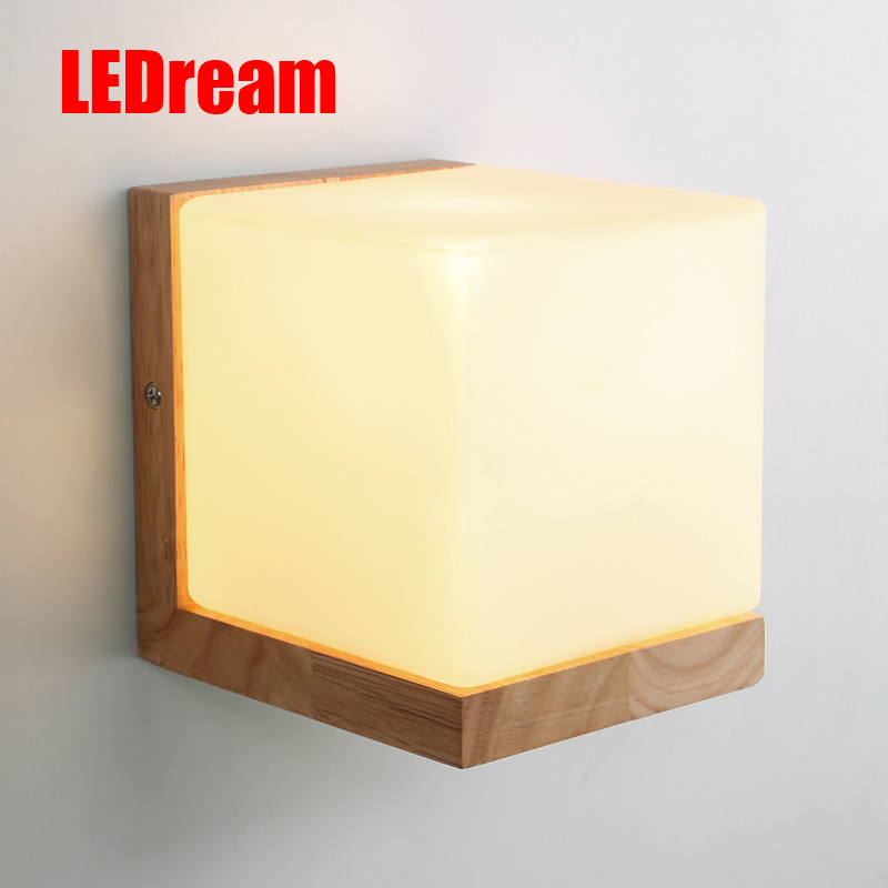 Contemporary and contracted wall lamp of bedroom the head of a bed sweet Japanese corridor Lamps Chinese wood LED E14lights the rhetoric of the contemporary lyric