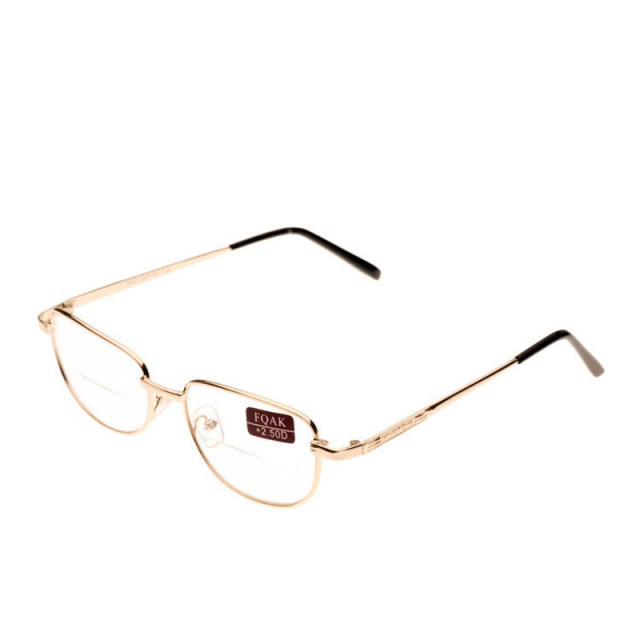 36f405ecb8b Bifocal Reading Glasses Gold Metal Frame Presbyopia Glasses Reader Diopter  +1.0-4.0 Men Women Free Shipping
