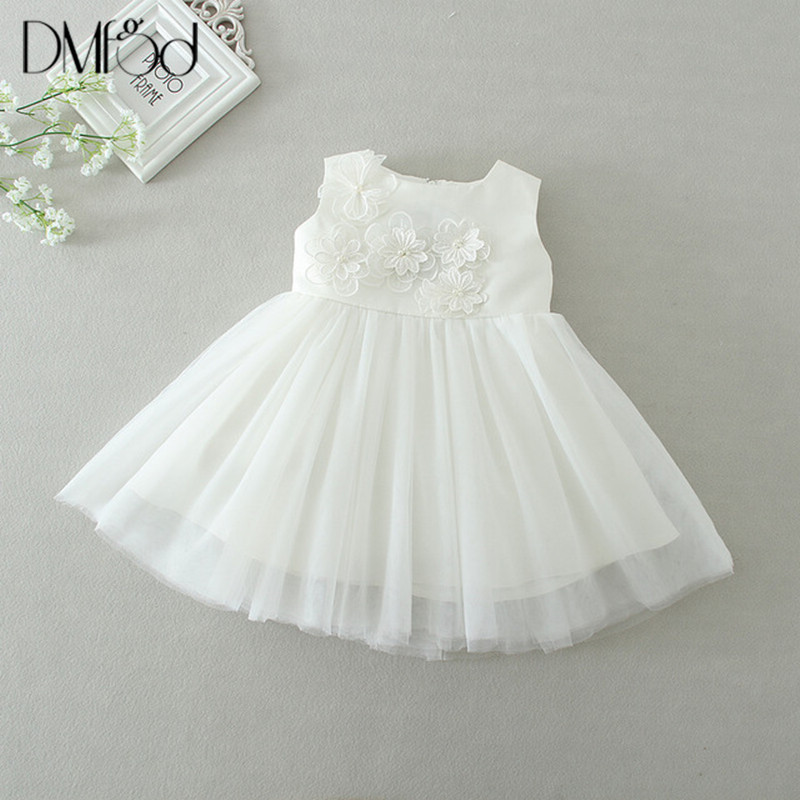0-24M New Born Baby Girls Dress For 2018 Wedding Christening Infant Baby Girl Clothes Bow Flower Tutu Gown Kids Party Dress 9129