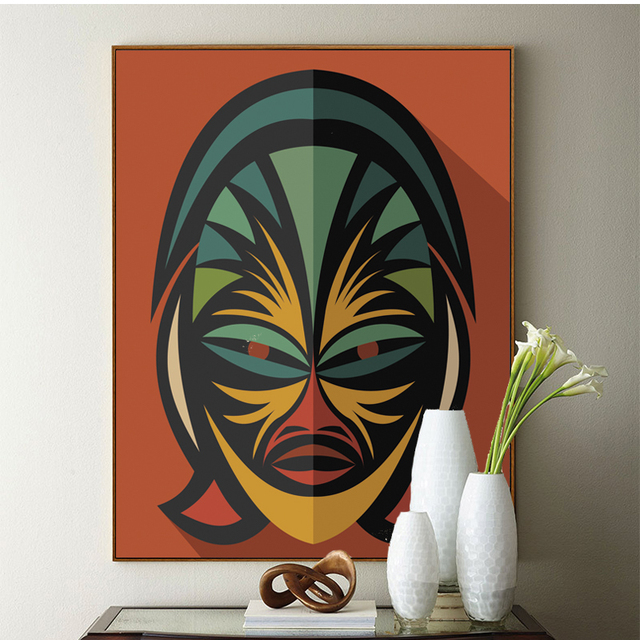 American Indian Mask Art Print Poster, Wall Art Picture for Living ...