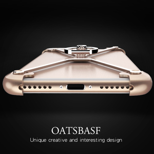 Image 4 - Oatsbasf X Shape Metal Border Case for iPhone 7 Personality Shell for iPhone 7 Plus Metal Bumper Ring Holder cases for iphone 6